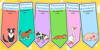 Editable Bookmarks to Support Teaching on Farmyard Hullabaloo - farm, bookmarks, books