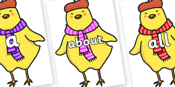 100 High Frequency Words on Chicken Licken - High frequency words, hfw, DfES Letters and Sounds, Letters and Sounds, display words
