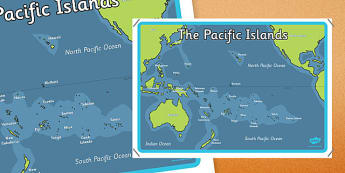 Pacific Islands Map Poster - nz, new zealand, pacific islands, map, poster, display
