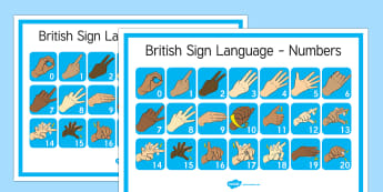Large British Sign Language Numbers Posters - numbers, posters