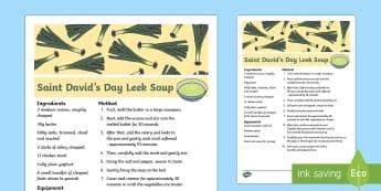 Saint David's Day Leek Soup Recipe - Dewi Sant (St David's Day 1.3.17),Welsh, recipe, soup, food, celebration