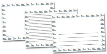 Grey Teal Duck Landscape Page Borders- Landscape Page Borders - Page border, border, writing template, writing aid, writing frame, a4 border, template, templates, landscape