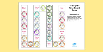 Telling The Time Board Game KS1 O'clock and Half Past - telling the time, board game, ks1, o'clock, half past
