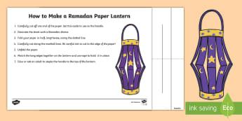 Ramadan Lantern Paper Craft - Islamic, Islam, fasting, lunar, calendar, Qur'an, lantern