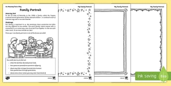 Family Portrait Activity Sheet, worksheet