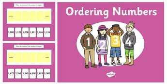 Ordering 4 Digit Numbers PowerPoint - ordering, 4 digit, numbers