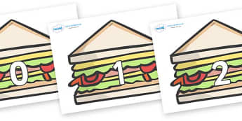 Numbers 0-50 on Sandwiches to Support Teaching on The Lighthouse Keeper's Lunch - 0-50, foundation stage numeracy, Number recognition, Number flashcards, counting, number frieze, Display numbers, number posters