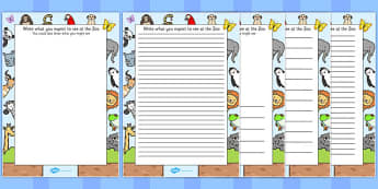 Zoo Trip Themed Writing Frames - zoo, trip, writing frame, frame