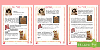 Anne Frank Differentiated Fact File - anne frank, significant individual, differentiated, fact file, war, jewish, ww2