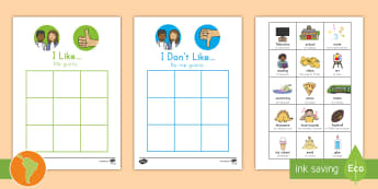 All About Me: 'I like' and 'I don't like' Sorting Activity US English/Spanish (Latin) - ourselves, SEN, writing template, writing aid , spanish, eal