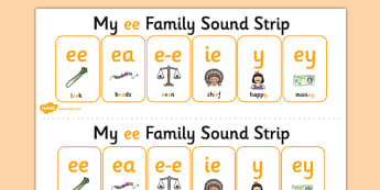 My EE Sound Family Strip - Sound family, EE, alternate spellings, alternate spellings for phonemes, family, sounds, phoneme, phonemes