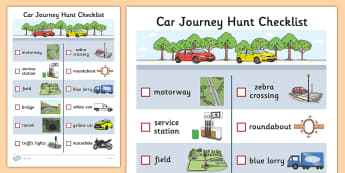 Car Journey Hunt Checklist - car journey, hunt, checklist, check, list