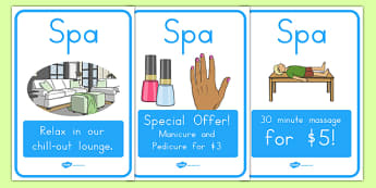 The Spa Role Play Posters - usa, america, spa, role play, the spa, health and wellbeing, posters