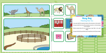 Matching Busy Bag Prompt Card and Resource Pack to Support Teaching on Dear Zoo - Dear Zoo, Rod Campbell, animals, letter to the zoo, story recall, story retell, sort, match, order