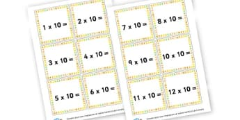 10 Times Table Cards - Times Tables Primary Resources, multiply, times, number of, games, Times, Table, Tabe