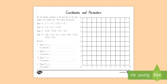 Coordinates and Perimeter Activity Sheet - New Zealand Maths Resource Moving, perimeter, shape, plotting coordinates, describing shape, area, 2