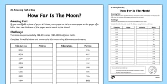 How Far Is The Moon Activity Sheet - amazing fact a day, activity, activities, moon, worksheet