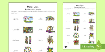 Mardi Gras Initial Sounds Missing Sounds Activity Sheet - Mardi Gras, Fat Tuesday, New Orleans, Carnival, parade