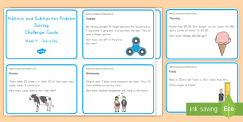 Weekly Addition and Subtraction (4) Challenge Cards - Common Core Math, addition, subtraction, word problems, problem solving, operations and algebraic th