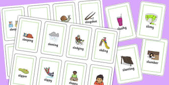 Two Syllable SL Sound Flash Cards - sen, sound, sl sound, sl, sen, two syllable, flash cards