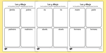 Ma Familia Read and Draw Worksheet Spanish - spanish, my family, read, draw, worksheet, activity