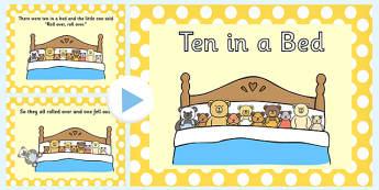 Ten in a Bed PowerPoint - ten in a bed, nursery rhymes, nursery rhyme powerpoint, ten in a bed nursery rhyme, ten in a bed nursery rhyme powerpoint