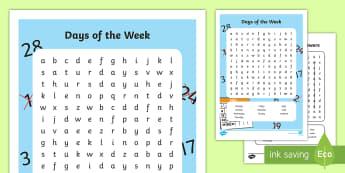 Days of the Week Word Search - days, week, weekend, calendar