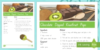 Treaty Treats Chocolate Dipped Kiwifruit Pops Recipe Te Reo Maori / English - Waitangi Day, Treaty of Waitangi, tiriti o waitangi, kiwi, kiwiana, recipes
