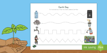 Earth Day Cutting Skills Activity Sheet - conserve, recycle, fine motor, control, eco, environment
