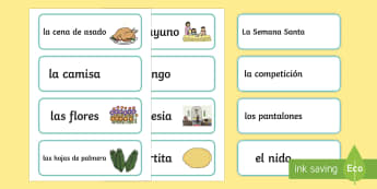 It Is Easter Time Word Cards - Spring, KS2, Spanish, MFL,easter, word, cards, vocabulary,Spanish
