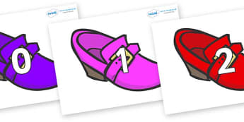 Numbers 0-31 on Shoes - 0-31, foundation stage numeracy, Number recognition, Number flashcards, counting, number frieze, Display numbers, number posters