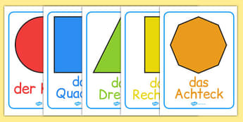 2D Shape Posters German - german, 2d shape, posters, display, 2d, shape, maths
