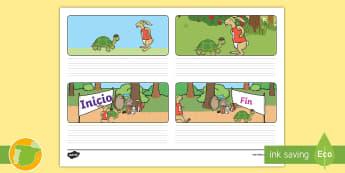 Plantilla de storyboard: La liebre y la tortuga - cuento, infantil, moraleja, liebre, tortuga, fábula, fabula, animales, escritura, storyboard, plant