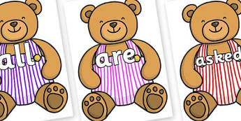 Tricky Words on Dugaree Teddy - Tricky words, DfES Letters and Sounds, Letters and sounds, display, words