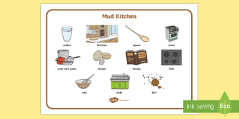 Mud Kitchen Word Mat - CfE Outdoor Learning, nature, forest, woodland, playground, mud kitchen, outdoors, cooking, recipe.,