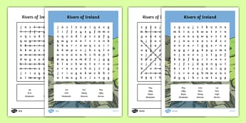 Rivers of Ireland Differentiated Word Search - Irish