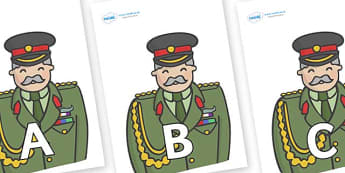 A-Z Alphabet on Officers - A-Z, A4, display, Alphabet frieze, Display letters, Letter posters, A-Z letters, Alphabet flashcards