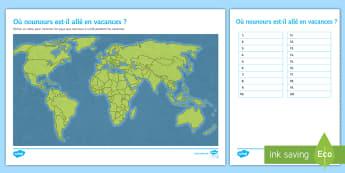 Feuille d'activités : Où nounours est il allé en vacances ? -  géographie, pays, voyage, voyages, voyager, vacances, feuille d'activités, activité, monde, nou