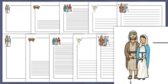 Nativity Page Borders - Nativity, Page border, border, Christmas Story, xmas, word card, flashcards, Mary, Joseph, Jesus, shepherd, wise men, Herod, angel, donkey, stable, Gabriel, First Christmas,Inn, Star, God