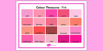 Colour Thesaurus Word Mat Pink - colour thesaurus, colour, thesaurus, word mat, word, mat, pink