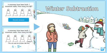 Winter Themed Subtraction PowerPoint - subtraction, one digit, one to one correspondence,Australia