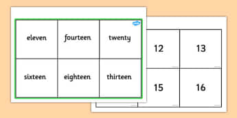 Number & Words Bingo (11-20) - number game, bingo, 0-10, Number names, Number words, Numerals, Foundation Numeracy, Number recognition, Number flashcards, numeracy, numbers, number names, numbers to 10, 1-10, bingo