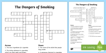 KS2 Dangers Of Smoking Crossword - crossword, KS2, activities, smoking, science, human body, science, PSHE, harmful substances,