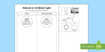 Natural or Artificial Light Activity Sheet - ACSSU020, light, manmade light, worksheet, Australia