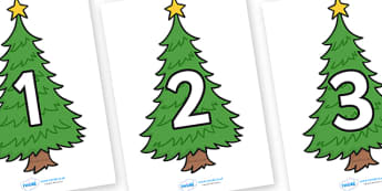 Numbers 0-30 on Christmas Trees (Plain) - Christmas, xmas, tree, advent, nativity, santa, father christmas, Jesus, tree, stocking, present, activity, cracker, angel, snowman, advent , bauble, Foundation Numeracy, Number recognition, Number flashcards
