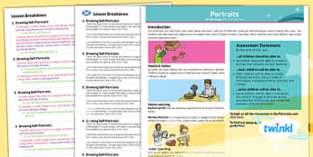 PlanIt Art KS1 Portraits Planning Overview CfE - scottish, art, history, Famous artists, colour, displays, resources, planning, topic