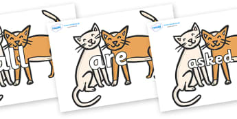Tricky Words on Cats - Tricky words, DfES Letters and Sounds, Letters and sounds, display, words