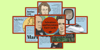 Scientists and Inventors Fact Cards - Marie Curie, William Smith, Inge Lehmann, botany, geology, seismology, Earth layers, fossils, rocks, skeleton, plants, magnets, electromagnets, mirrors, concave, convex