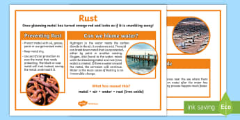Rust Display Poster - rusting, oxidization, corrosion, iron oxide, ACSSU095, irreversible change, Chemical reaction,Austra
