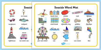 Seaside Word Mats - Writing aid, Under the sea, sea, seaside, topic, water, tide, waves, sand, beach, sea, sun, holiday, coast